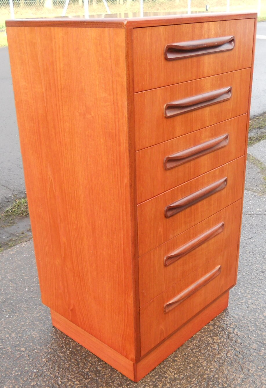 Tall Narrow Teak Chest of Six Drawers by GPlan